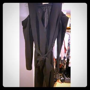 Black cold shoulder coat